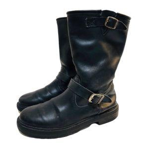 Steve Madden Moto Boots Black Nubuck Leather Sz 6